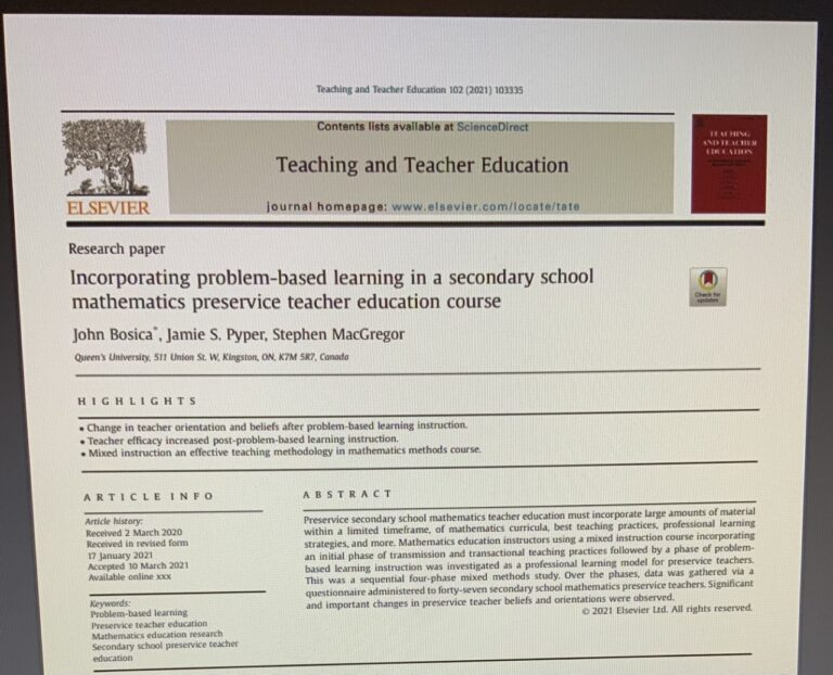 PBL published article in Teaching and Teacher Education