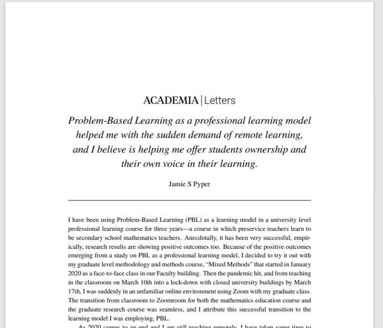 Academia.edu article: about PBL as a learning model