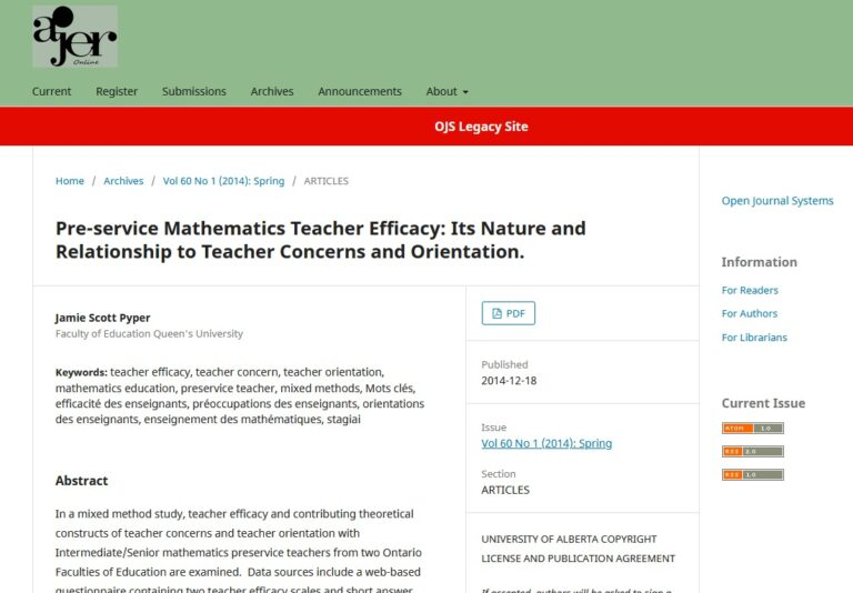 Pre-service Mathematics Teacher Efficacy: Its Nature and Relationship to Teacher Concerns and Orientation.